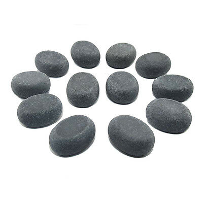 HOT STONE MASSAGE: 12 Small Basalt Massage Stones 3.75 x 3 x 1.75 cm