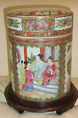Unusual Antique Chinese Famille Rose Tobacco Jar Humidor