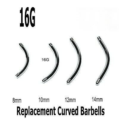 10 Spare Surgical Steel Curved Threaded Barbell Blanks Eyebrow Belly Bars 16g