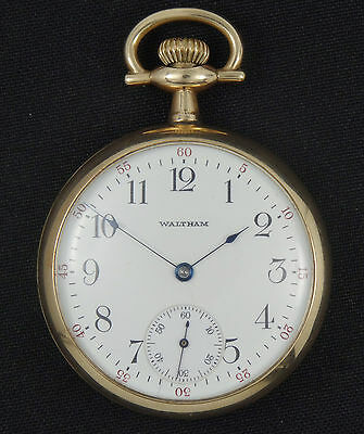 ANTIQUE ELABORATE BACK 1912 A.W.W. Co WALTHAM OPEN FACE 15J POCKET WATCH *WORKS
