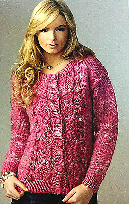 James C Brett Ladies,marble Chunky Knitting Pattern, Round Neck,cable, Cardigan