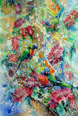 Rainbow Lorikeet,print from original painting,birds,native tree,Australian art