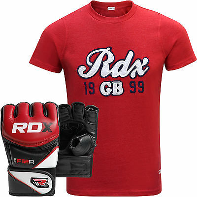 RDX Mens T-Shirt Top Boxing Training MMA Grappling Gloves Fight Boxing Muay Thai