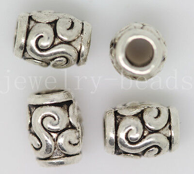 New 20/100/500pcs Antique Silver Cylindrical Spacer Beads Charms Jewelry 6x5mm