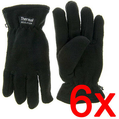 6 X Mens Thermal Insulation Fleece Gloves Lined Warm Winter Ladies Thinsulate