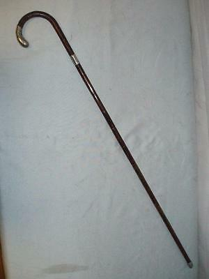 "Stunning Antique Ladies  Hallmarked Silver Walking Stick 35 3/4"".1911"