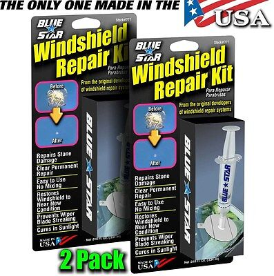 Blue Star (2Pack) Diy Windshield Glass Repair Kit Stone Damage Chip Model # 777