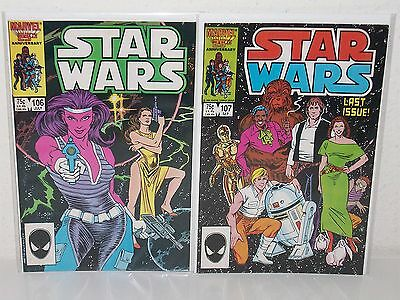 STAR WARS #106-107 - Rare Final Issues - (MARVEL, 1986) - Low Print Run  AWAKENS