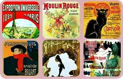 """Coasters - """"Paris"""" - Set of 6 Assorted French Images, Art, History, Culture"""