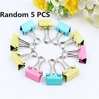 5x Colorful Metal Paper File Ticket Binder Clips 19mm Office School Supply Clip