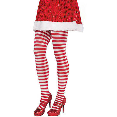 Adults Christmas Red White Candy Striped Fancy Dress Party Tights