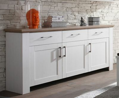 Sideboard Kommode weiss anderson pine/ Eiche silber Woody 91-00469