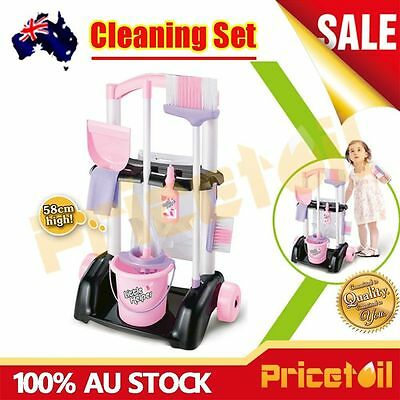 Kids Children Maid Cleaner Cleaning Housework Pretend Play Set Broom Bucket Toy