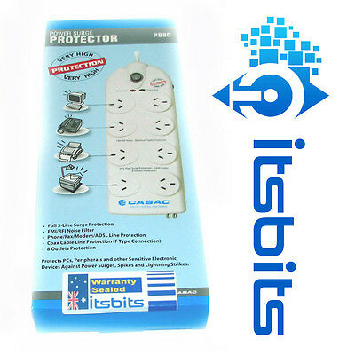 Cabac 8 Way Surge Protection Powerboard With Phone Modem Fax  & Tv  1.8M Lead