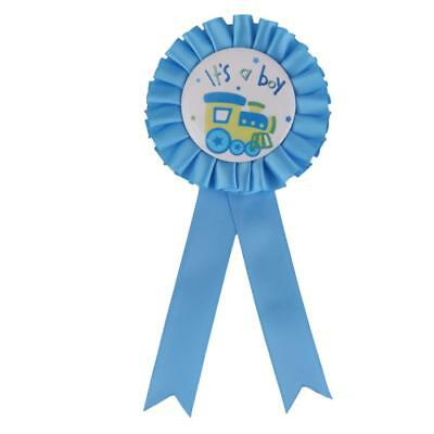 Baby Shower BLUE It's a Boy ROSETTE Ribbon Badge Pin Gift Present Accessory