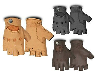 Leather Half Finger Driving Gloves Classic Style Chauffeur Biker Bus Driving