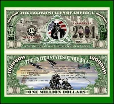 15 Factory Fresh Novelty God Bless Our Veterans Million Dollar Bills
