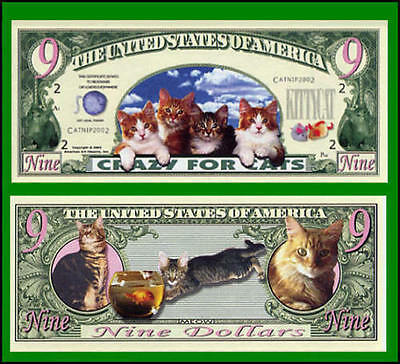 15 Factory Fresh Novelty Crazy for Cats Nine Dollar Bills -New
