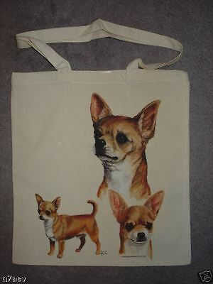 3 Chihuahua Dogs Printed On A Tote Shopping Bag