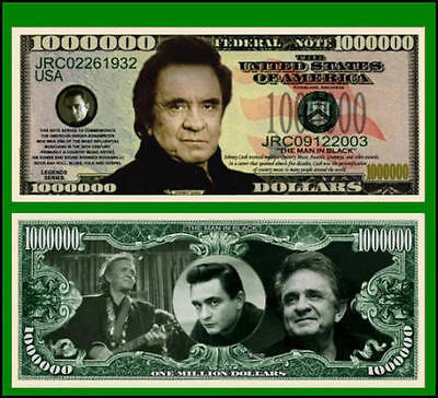 5 Factory Fresh Novelty Johnny Cash Million Dollar Bills