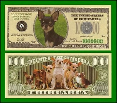 5 Factory Fresh Novelty Chihuahua Dog Million Dollar Bills