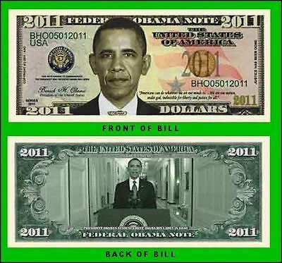 5 Factory Fresh Novelty President Barack Obama 2011 Commemorative Dollar Bills