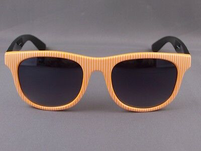 f9f32c1fd82 Orange White stripe front Black risky business 80s style sunglasses striped