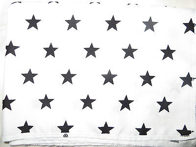 FLAT SHEET cot WHITE BLACK stars cotton FREE POSTAGE