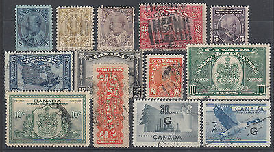 Canada Sc 91/O31 used 1903-1952 issues, 13 different