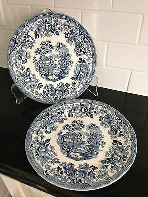"""Set of 2 THE GEORGIAN COLLECTION CHURCHILL 10"""" Dinner Plate England Blue & White"""