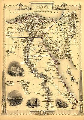Large Antique Egyptian Map of Egypt & Arabia Petraea Middle East A3 Reproduction