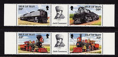 1992 ISLE OF MAN First Trans-American Railroad - 2 GUTTER PAIRS - Mint