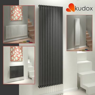 "Kudox ""Xylo"" White & Anthracite Square Column Designer Radiators (16 Sizes)"