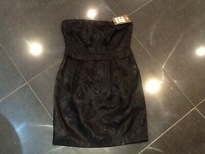 NWT Juicy Couture New & Gen. Ladies Black Satin Evening Dress Small (UK 8/10)
