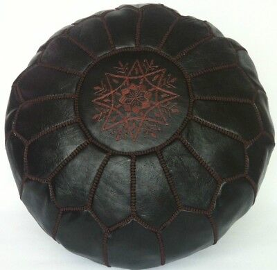 100% Leather Handcrafted Moroccan Pouffe Black with Brown embroidery