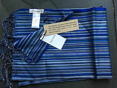 Paul Smith Blue  MultiStripe 100% Silk Scarf Men New  190cm x 22cm