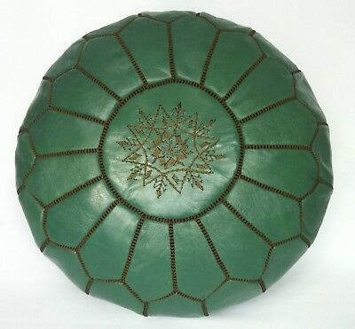 100% Leather Handcrafted Moroccan Pouffe Spanish Green