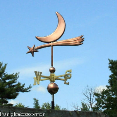 Fancy Copper Star & Moon Weathervane W/ Brass Directional Made In  Usa 348