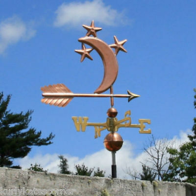 Fancy Copper Moon & Stars Weathervane W/ Brass Directional Made In  Usa #344