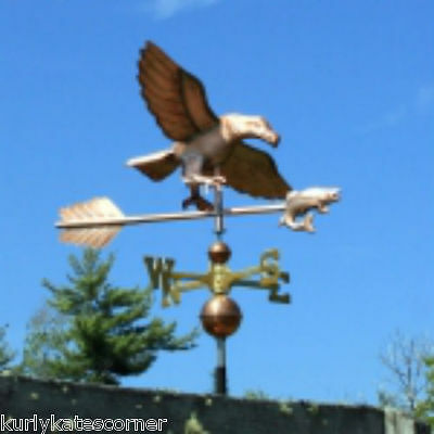 Large Copper Eagle W/fish Weathervane W/ Brass Directional Made In  Usa #325