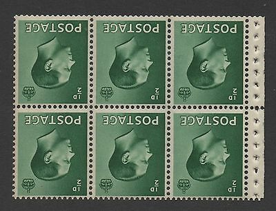 Ed VIII - 1/2d green booklet pane x 6. Inverted watermark. MNH with good perfs.