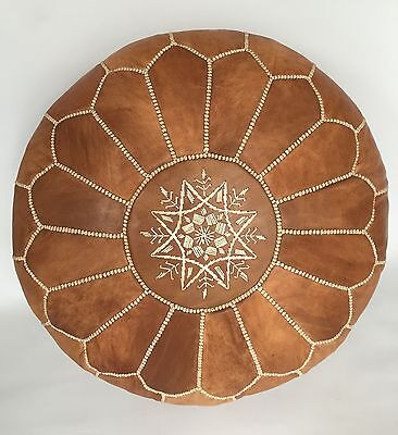 Moroccan Handcrafted Tan Brown Unstuffed Leather Pouffe / Floor Cushions
