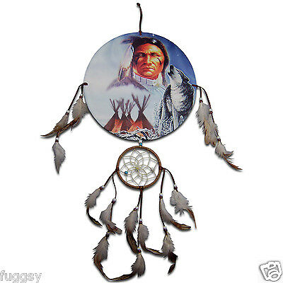 Indian Chief, Wolf Teepees Native American  Indian Dreamcatcher 30cm Canvas NEW