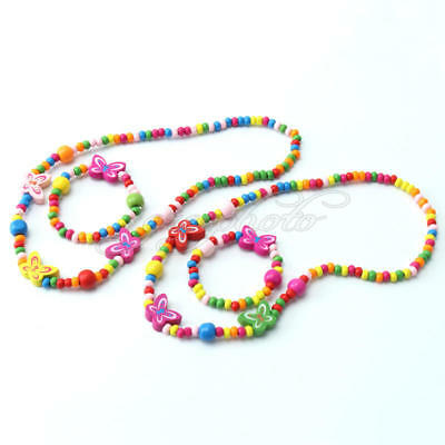 2 Sets New Hot Children Jewelry Cute Girl ButterFly Wood Bead Necklace Bracelet