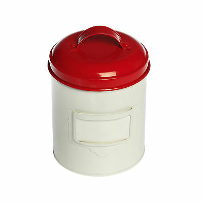 dotcomgiftshop SMALL VINTAGE RED & CREAM ENAMEL CANNISTER
