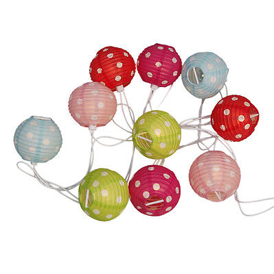 dotcomgiftshop STRING OF 10 CANDY SPOT PARTY PAPER LANTERN FAIRY NIGHT LIGHTS