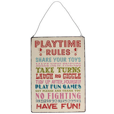 dotcomgiftshop PLAYTIME RULES VINTAGE STYLE HANGING METAL WALL SIGN
