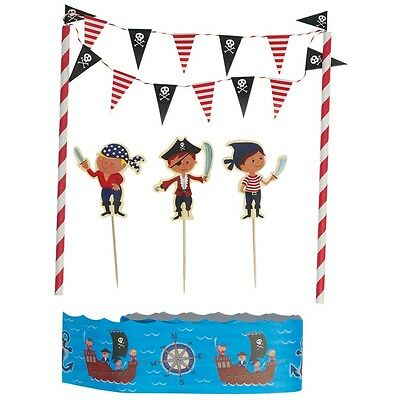 dotcomgiftshop PIRATE FUN MINI BUNTING BIRTHDAY CAKE DECORATION  SET