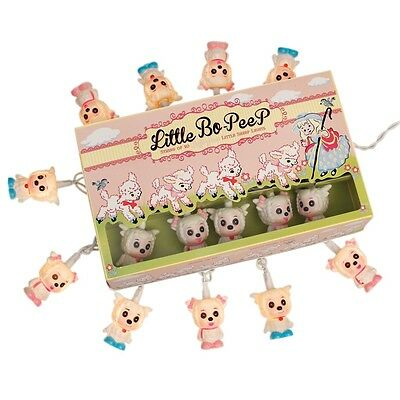 dotcomgiftshop STRING OF 10 SOFT GLOW LITTLE BO-PEEP SHEEP PARTY LIGHTS BS PLUG