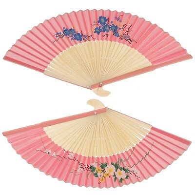 dotcomgiftshop PINK SILKY LADIES CHINESE BAMBOO FOLDING WOOD HAND FAN